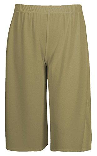 Verano Trouser Palazzo Longitud Cortos Caqui 3 Wide Pierna 4 Janisramone Señoras Mujeres Llanura Pantalones Nuevo Culottes Casual RwcFOpq