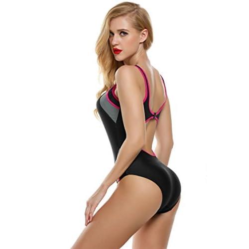 3b6bb37d7f580 Ekouaer Swimsuit Women's Backless Splice One Piece Swimwear Bathing Suit S- XXL 60%OFF