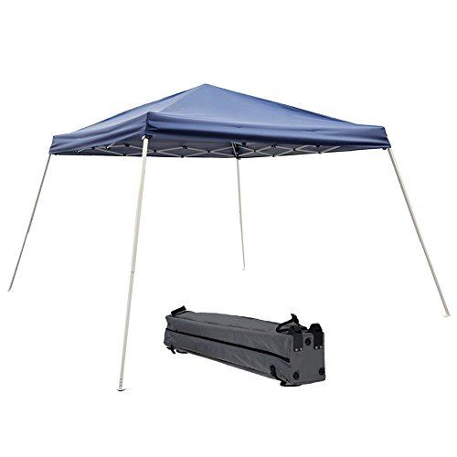 9' Blue Canopy Tent - Abba Patio Pop Up Canopy 12 x 12-Feet Slant Leg Instant Folding Canopy with Carry Bag, Dark Blue
