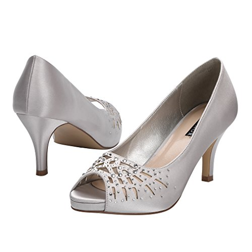 Bridal Comfort ERIJUNOR Dress Platform Toe Peep Shoes Satin Heel Women Low Rhinestones Silver Wedding Evening xvv4aUn