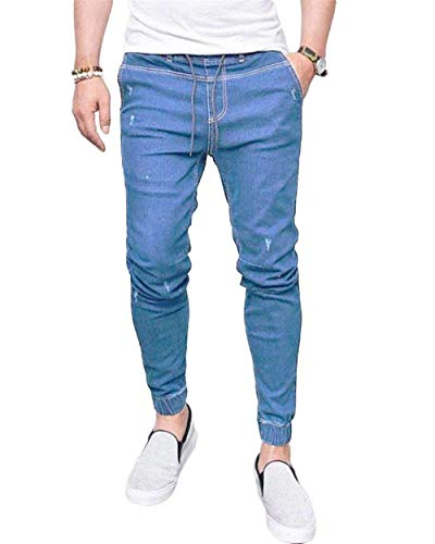 Chel Elasticated Con Hellblau Vintage Jeans Stretch Denim Quarti Da Giovane On Uomo Tre Saoye Skinny Fashion Pantaloni q8H8av