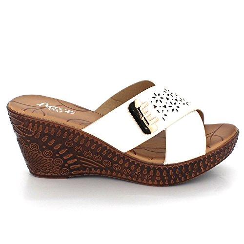 AARZ LONDON Women Ladies Summer Everyday Wear Casual Slip-on Comfort Super Lightweight Wedge Heel Sandals Shoes Size Brown yJEOiOh