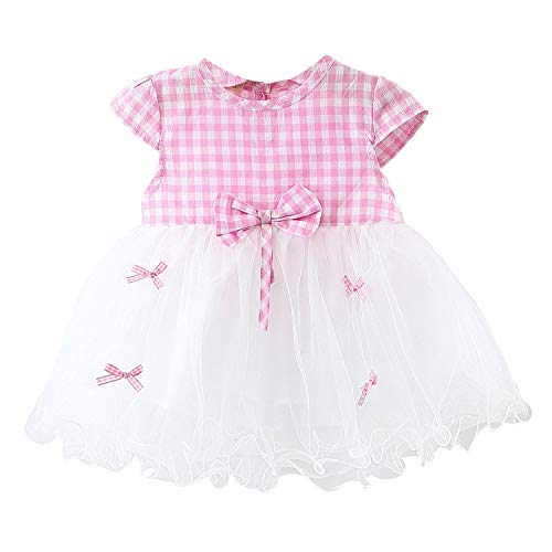 Children's Clothing Sleeve Toddler Kids Baby Girl Summer Plaid Bow Princess (6M-24M) Pink 18M]()