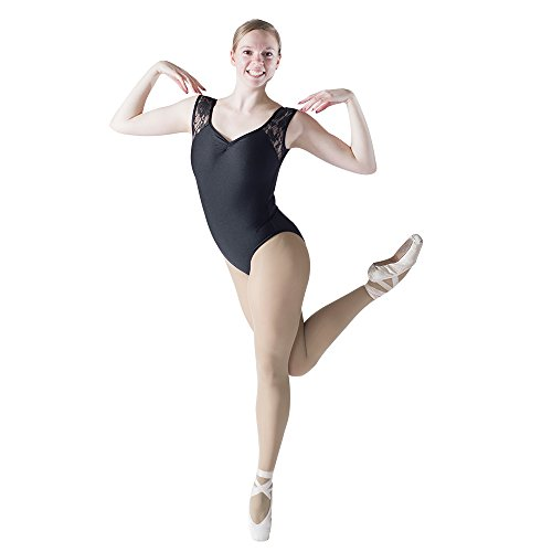 HDW DANCE Black Women Ballet Dance Leotard Lace Tank Pinch Front Nylon Lycra Bodysuit (S, Black)