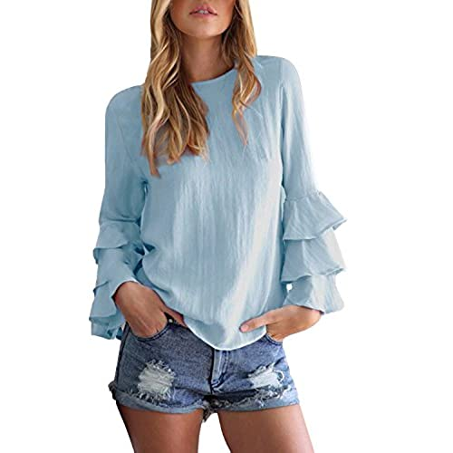 StyleDome Mujer Camiseta Mangas Largas Volantes Lunares Blusa Elegante Noche Casual Oficina Azul EU 38-40