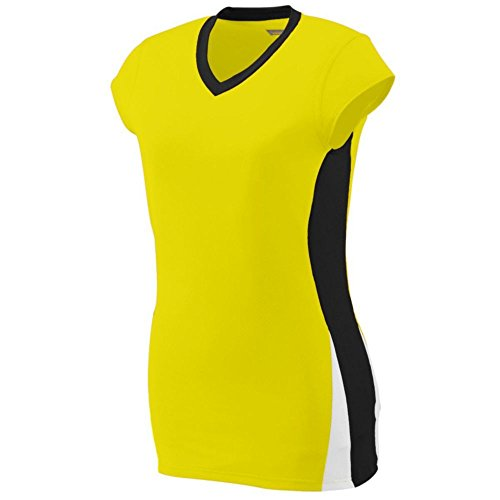 Augusta Activewear Ladies Hit Jersey, Power Yellow/Black/White, XX Large