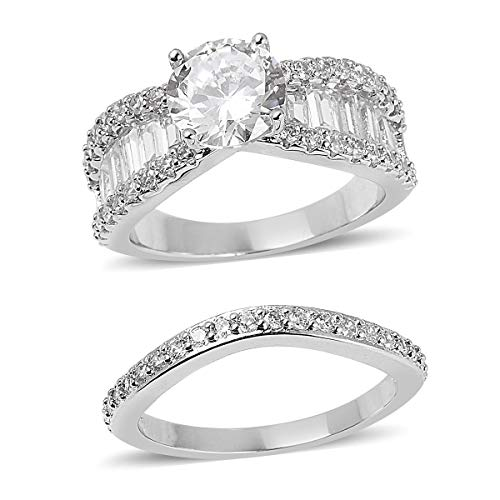 (Shop LC Delivering Joy Silvertone Round White Cubic Zirconia CZ Statement Ring for Women Jewelry Size 7 Cttw 8.1)
