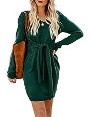 Acelitt Women's Turtleneck Long Sleeve Knit Sweater Mini Dress Slim Fit Bodycon Dresses