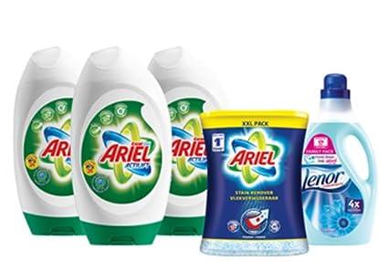 Ariel Gel Excel 3 x 24 Wash + Lenor 83 lavado suavizante + Ariel quitamanchas 1