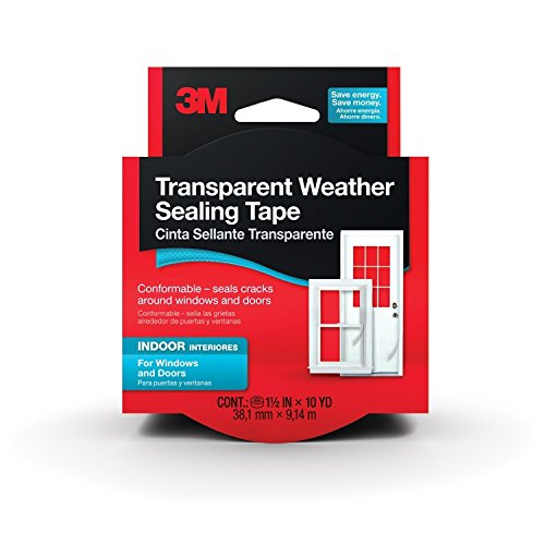 3M Interior Transparent Weather Sealing Tape, 1.5-Inch by 10-Yard(2Pack) (Tape 3m Transparent)