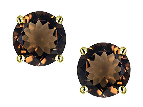- Star K Classic Round 7mm Genuine Smoky Quartz Four Prong Stud Earrings 10 kt Yellow Gold