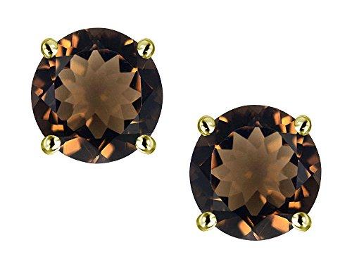 (Star K Classic Round 7mm Genuine Smoky Quartz Four Prong Stud Earrings 10 kt Yellow)