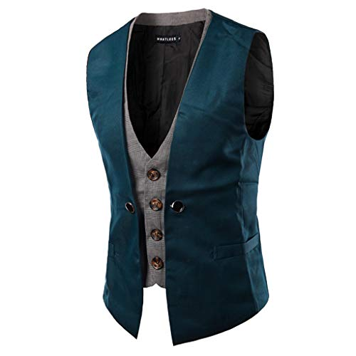 Sunhusing Men's Autumn Winter Casual Sleeveless Fake Two-Piece Single-Breasted Suit Gilet Vest Waistcoat ()