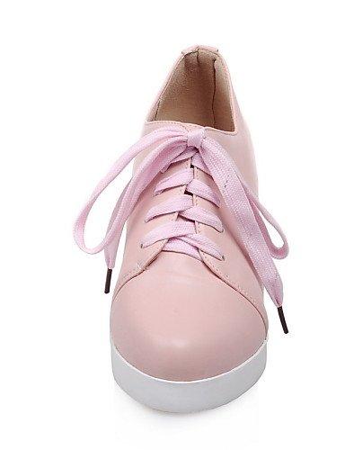 Richelieu Décontracté Arrondi Femme Bout White Njx us8 Uk6 Plateforme Cn39 Similicuir Rose A Chaussures Noir Plateau Blanc Eu39 EgqWvzPqA