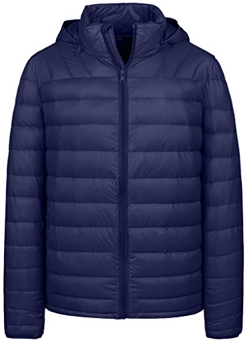 Wantdo Men's Packable Light Weight Insulated Down Jacket with Removable Hood(Navy,L) - Down Hood