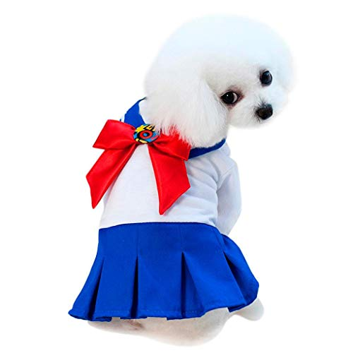 vmree Dog Apparel, Puppy Kitten Adorable Japan Schoolgirl Uniform Dress Sailor Moon Cosplay Costume (Blue, L)