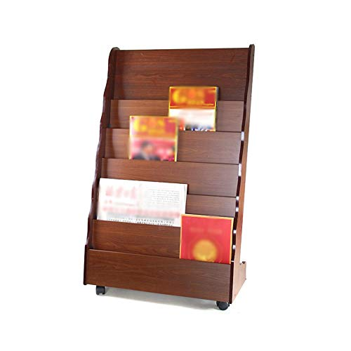 Qing MEI Floor-Standing Solid Wood Bookshelf Floor-Standing 7-Layer Data Frame Magazine Rack Display Stand Mobile Business Storage - Seven Stand Pocket Floor Magazine