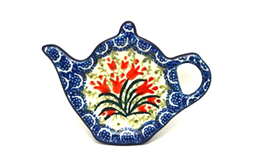 Polish Pottery Tea Bag Holder - Crimson Bells by Polish Pottery Gallery