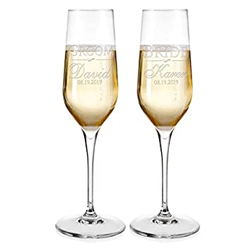 Set of 2 Personalized Wedding Champagne Flutes Engraved Glass Bride and Groom Gift Wedding Favors – Design 5