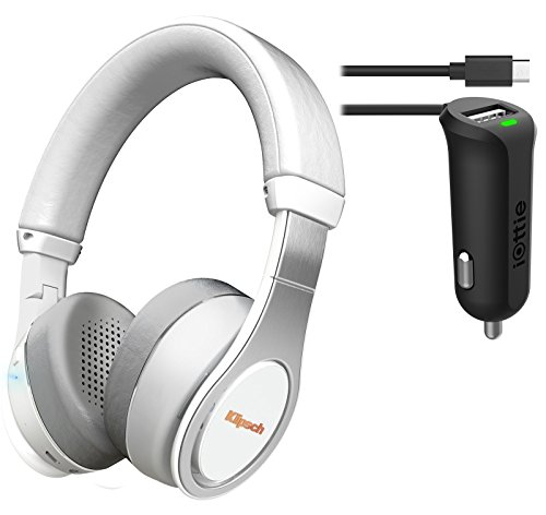 Klipsch Reference On-Ear Bluetooth Headphone (White) Bundle & iOttie Car Charger