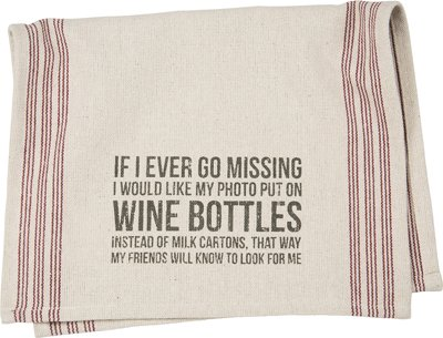 Dish Towel - ''Wine Bottles'', Set of 2