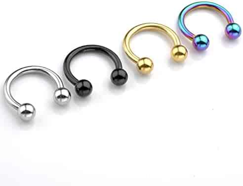 JOVIVI 2-8pc 14G Stainless Steel Multi-functional Lip/Nose/Nipple/Eyebrown Captive Hoop Ring Barbell Tragus Cartilage Stud Earrings 3/8