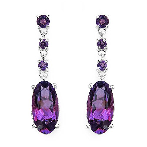 Johareez Genuine Amethyst Sterling Silver Drop Earrings