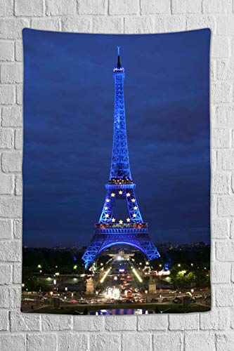 DBLLF Paris City Decor Collection Tapestry Eiffel Tower at Night Paris Skyline Historic Landscape View Wall Hanging for Bedroom Living Room Dorm 40X60 Inches - Eiffel Flannel Tower