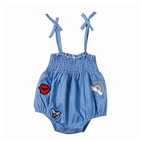 Fashion Newborn Infant Baby Girl Clothes Bodysuit Sleeveless Sling Denim Applique Jumpsuit Romper Beach Sunsuit Set 12-18 M