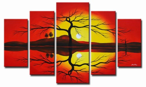 Sangu 100% Hand Painted 5-Piece Horizon Sunrise Serenity for Landscapes Oil Paintings Gift Canvas Wall Art Paintings For Living Room.