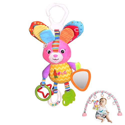 Hanging Toys for Babies, Dmeixs Car Seat Toys, Baby Stroller Toys, Hanging Crib Toys, Hanging Rattle Toys, Infant Hanging Toys Bunny with Squeaker,Crinkly Ear,Mirror,Washable,Colorful Rabbit Toys