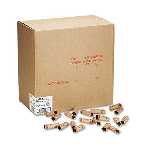MMF Preformed Tubular Cartridge Wrapper - Heavy Duty - Kraft - Orange, 1000 per Box (Mmf Quarters Coin Wrapper)