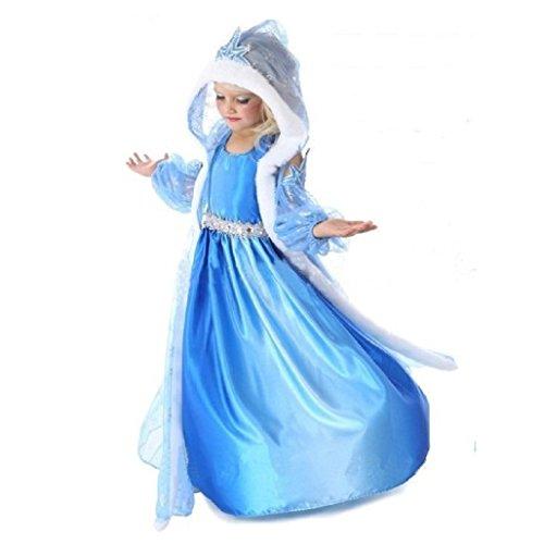 110 Cm Hood (FE6 Frozen Inspired Elsa Dress Halloween Costume Girl Size 3T-10 USA (4-110cm))
