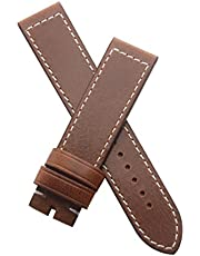 Watchstrapworld 21 mm Brown Genuine Leather pin Buckle Band with White Stitching to fit The TAG Heuer Autavia 02 Model CBE2110