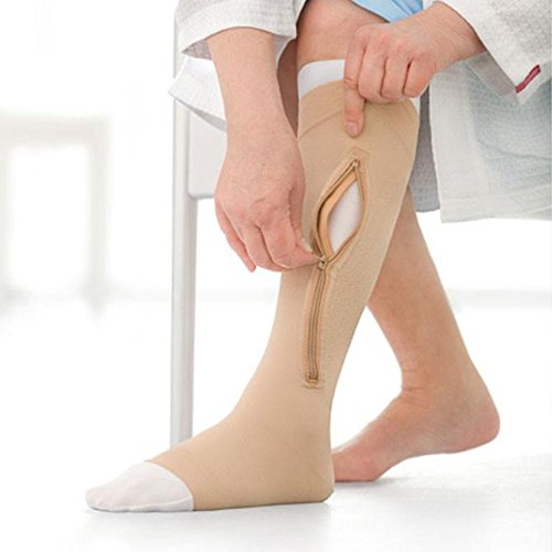 UlcerCare Zippered Unisex Open Toe Knee High Support Sock Size: Medium, Leg: Left by Jobst B004YWFEZQ
