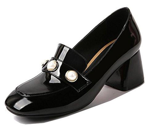 Pumps A Punta Quadrata Donna Aisun - Eleganti Scarpe Basse A Taglio Vivo - Slip On Medium Heel Black