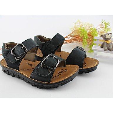 LFNLYX Unisex sandalias verano PU Confort Casual talón plano Magic Tape negro / marrón caminando Light Brown