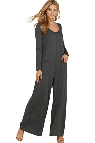 Annabelle Women's Full Length Pocketed Back Button Keyhole Plus Size Jumpsuit Mid Grey X-Large J8085P -