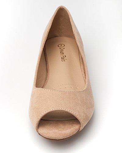 DREAM PAIRS Damen Damen Low Wedge Peep Toe Flats Schuhe Nude Wildleder