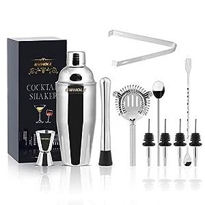 GWHOLE Set di 11 Shaker per Cocktail, Kit da Barman in Acciaio Inox con Ricette (e-Book) in Elegante Scatola Regalo 6 spesavip