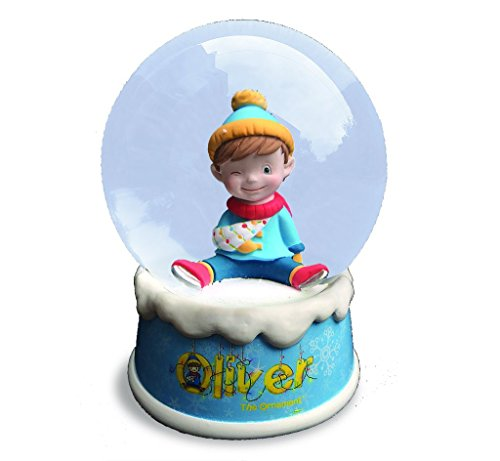 Ornaments Musical Snowglobe - Snow Globe Musical Gift Boxed - Oliver the Ornament Snow Globe with Music That Plays