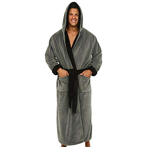 Pure Robs for Men ❤️ Mens Hooded Robe, Teen Boys Plush Long Bathrobe Plush Long Robes (S, Dark Gray)