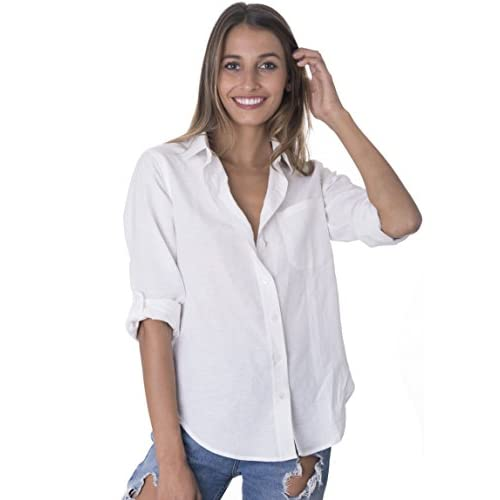730afe31430 chic CAMIXA Women s Washed Casual Linen Button-down Shirt Look Cool ...