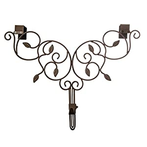 [Front Door WREATH HANGER] - Ivy Design | ADJUSTABLE Hook Length for Tall and Small Doors | PADDING to Prevent Damage like Scratch and Dents | Heavy Duty Cast Iron Metal Hangar - BROWN Finish 95