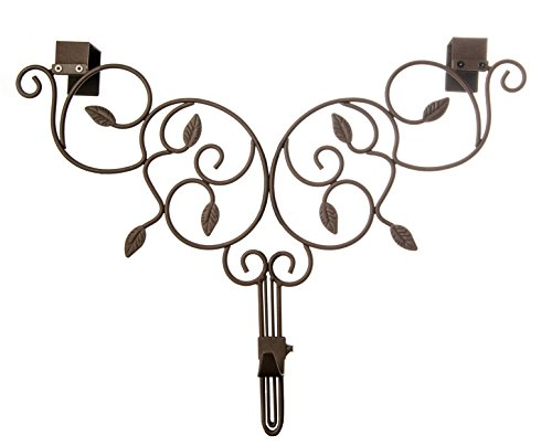 Lighting Hanger - [Front Door WREATH HANGER] - Ivy Design | ADJUSTABLE Hook Length for Tall and Small Doors | PADDING to Prevent Damage like Scratch and Dents | Heavy Duty Cast Iron Metal Hangar - (Brown)
