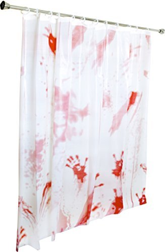Kangaroo's Bloody Shower Curtain Halloween Decoration; (Double-Sided) -