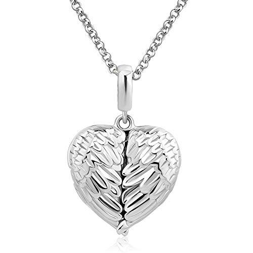 (Jesse Ortega Angel Wings Nurse RN Caduceus Cross Photo Neckalce Custom Personalized Picture Locket 925 Sterling Silver)