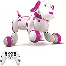 SainSmart Jr. Robot Dog Smart Dog Electronic Pets, Remote Control Dog Toy Interactive Puppy with Immersive Sound, Humanistic Care and Rechargeable Mode (Pink)
