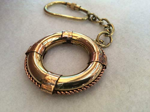 Brass Life Ring/Lifering Keychain - Life Preserver Buoy Lifesaver - Boat for Home Decor Collection
