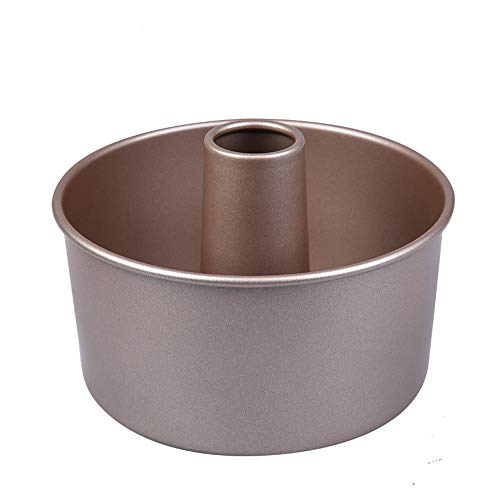 Angle Food Pan 6 Inch for Instant Pot with Removable Loose Bottom Round Cake Pans Nonstick Carbon Steel Champagne Gold